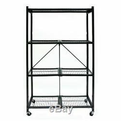 Heavy Duty Multi Purpose 4 Shelf Steel Collapsible Storage Rack with Wheels