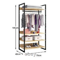 Heavy Duty Open Wardrobe Clothes Rail Rack Hanging Garment Organizer 4 Shelves