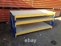 Heavy Duty Pallet Racking Work / Packing Bench (2400mm X 1200mm) With 2 Shelves