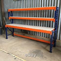 Heavy Duty Pallet Racking Work / Packing Bench (2600mm X 600mm) With Shelves