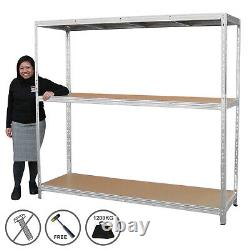 Heavy Duty Racking Garage Shelving Warehouse 1860 x 2000 x 600mm Shelves 1200kg