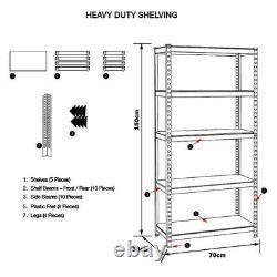 Heavy Duty Storage Racking 5 Tier Grey Shelving Boltless (150 x 70 x 30) cm S247