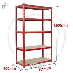 Heavy Duty Storage Racking 5 Tier Red Shelving Boltless for Garage Workshop UKDC