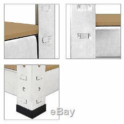 Heavy Duty Storage Shelves 1500mm Tall Silver 5 Tier Metal Garage Boltless Unit