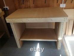 Heavy Duty Wooden Workbench 4 Feet Long With Multiple Shelves