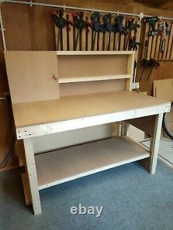 Heavy Duty Wooden Workbench 5 Feet Long With Shelves, Backboard, Small Cupboard