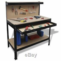 Heavy Duty Workbench with Pegboard Garage Shelving Unit Storage Tray Workstation