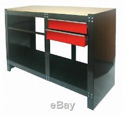 Hilka Heavy Duty Work Bench 2 Drawer Table Garage Tool Storage Chest Unit Shelf