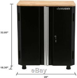 Husky Garage Cabinet Storage Shelf Heavy Duty 2 Door Steel Base Workshop Black