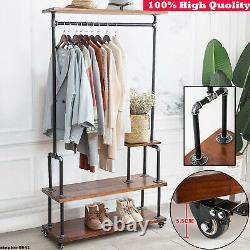 Industrial Clothes Rail Rack Rustic Heavy Wood Metal Bedroom Wardrobe Shelves UK