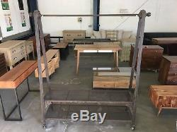 Industrial Heavy Duty Freestanding Metal Clothes Hanging Rail + Storage Shelves