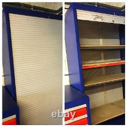 Industrial Heavy Duty Tambour Tooling Workshop Cabinet Cupboard With 4 Shelves