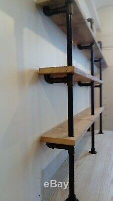 Industrial Iron Gas Pipe and Scaffold Board Shelving Unit for any Room