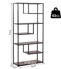 Industrial Metal Bookcase Vintage Retro Shelving Unit Tall Display Rack Cabinet