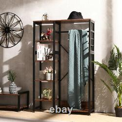 Industrial Open Wardrobe Clothes Rail Rack Unit Rustic Storage Shelves Stand UK