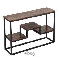 Industrial Rustic Wood Bookcase Bookshelf Hallway Console Table Storage Shelves