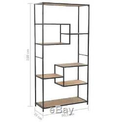 Industrial Style Bookcase Solid Wood And Metal Frame Tall Shelving Display Unit