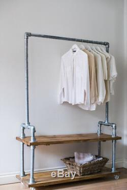 Industrial Style Clothes Rail with Shelves / Storage Solution