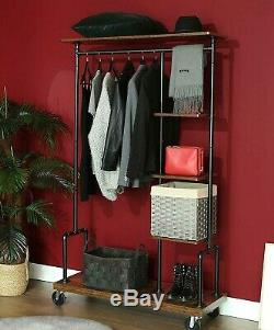 Industrial Style Garment Clothes Rail Shelves Storage Metal Pipe Mobile Wardrobe