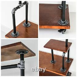 Industrial Style Wooden Metal Clothes Rail Rack Stand Storage 4 Shelves withWheels