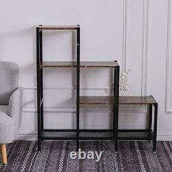 Industrial Wood 3 Tiers Cube Ladder Shelf Bookcase Step Stand Rack Room Divider