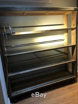 Industrial Wood and metal shelving unit on wheels office, home, shopfit