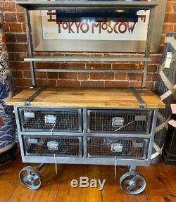 Industrial style Shelf Unit Display Drawers Iron Wheels Storage / Bookshelf