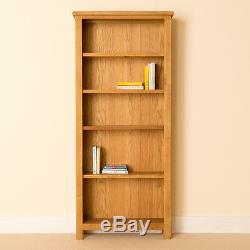 Lanner Oak Large Bookcase Tall Wide 5 Display Shelves Unit Solid Wood Bookshelf