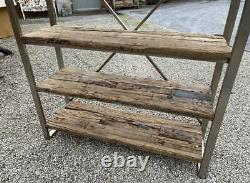 Large Shelf Display Unit Industrial Silver Metal Reclaimed Wood Shelves