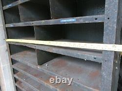 Large Vintage Heavy Duty Steel Shelving Unit Pigeon Holes Rack Storage Unit