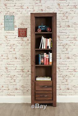 Mayan Dark Wood 4 Shelf Bookcase 2 Drawers Display Narrow Solid Walnut