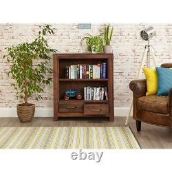 Mayan Solid Walnut 2 Drawer Low Bookcase