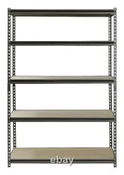 Metal Muscle Rack Shelving Storage 48W x 24D x 72H Garage 5 Shelf Heavy Duty