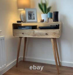 Modern Rustic Curved Wood Console Table 2 Drawers Nordic Style Legs Handmade