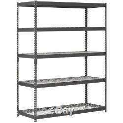 Muscle Rack 60W x 24D x 78H Five-Shelf Heavy-Duty Steel Shelving Unit, Black