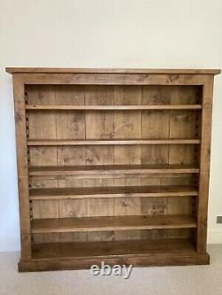 Must Sell! Solid Pine Indigo Bookshelf, Made In Uk With Wax And Brush For Upkeep
