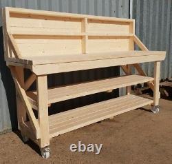 New! Wooden Workbench Worktable Workshop Bench Heavy Duty