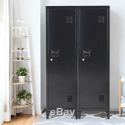 Office Filing Cabinet 3-in-1 Tall Storage Black Standing Cupboard Industrial