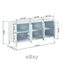 Office Metal File Storage Triple Doors Cupboard Locker White Cabinet TV Stand