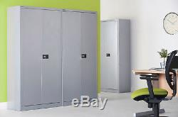 Office Stationery Metal Filing Cupboard Cabinet 2 Door + 3 Shelves Colour Choice