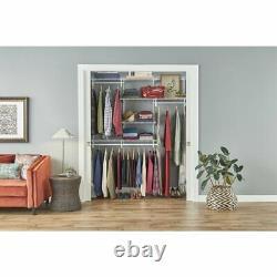 Open Clothes Wardrobe Organizer System Hanging Rail Storage Shelves