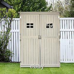 Outsunny Garden Wooden Storage Shed Tool Shelves 2 Door 127 x 50 x 164cm Grey