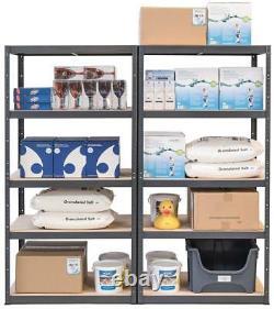 Pack of 2 Heavy Duty Storage Shelves 5 Tier Garage Racking GREY Boltless