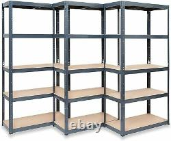 Pack of 3 Heavy Duty Boltless Garage Shelving 5 Tier Storage Racking Shops Shed
