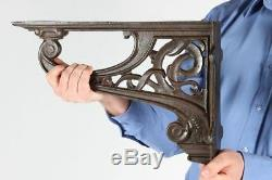 Pair of Large Celtic Style Heavy Duty Wall and Shelf Brackets Cast Iron Bracket