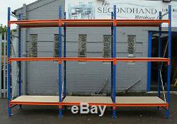 Pallet Racking, Longspan Shelving, Heavy Duty. 1 starter bay with 2 add on bays