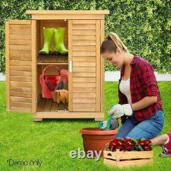 Portable Wooden Outdoor Garden Cabinet Shed Shelf Cupboard Utility Storage Tools