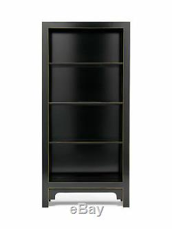 Premium Ming Oriental 4 Shelf Bookcase Solid Wood Large Black