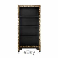 Premium Ming Oriental 4 Shelf Bookcase Solid Wood Large Black Gold Leaf