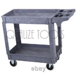QUALIZE Heavy Duty Two Shelf Industrial Polypropylene Utility Push Cart 16 x 30